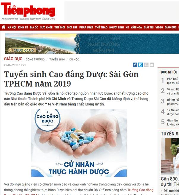 báo-tiền-phong-nói-về-trường-cao-đẳng-Dược-Sài-Gòn